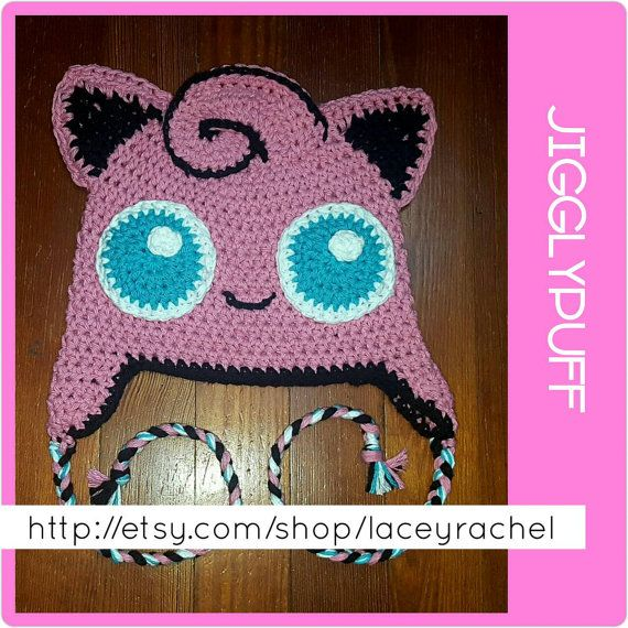 Jigglypuff Pokémon beanie with earflaps and braided by laceyrachel