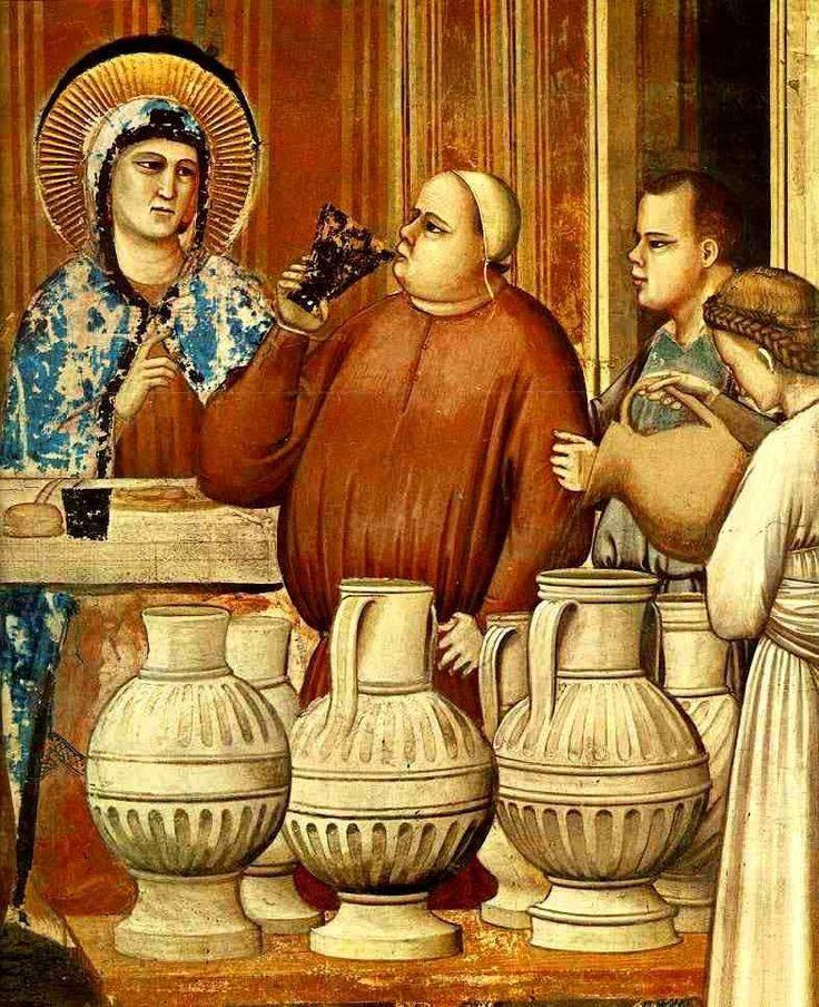 1304-1306. Giotto di Bondone-No.24 Scenes from the Life of Christ-8. Marriage at Cana (detail) Fresco,200x 185cm.Cappella Scrovegni (Arena Chapel),Padua.Цикл фресок капеллы Арена в Падуе (капелла Скровеньи). Брак в Кане Галилейской.Фрагмент-Фреска.