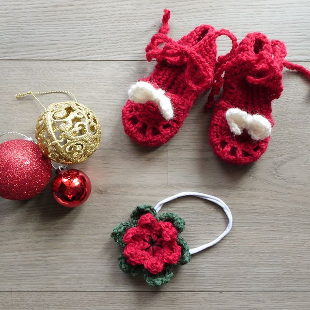 Our daughters Christmas outfit is complete with these sweet little crochet sandals. They'll be available in our Etsy store soon. #aydamade #aydamadecrochet