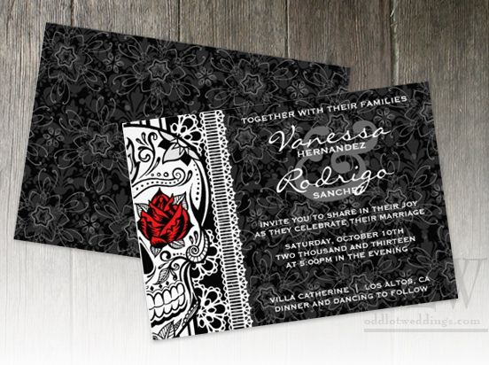 Skull and Rose Wedding | Make Your Own Wedding Invitations Templates Eco Friendly Wedding ...