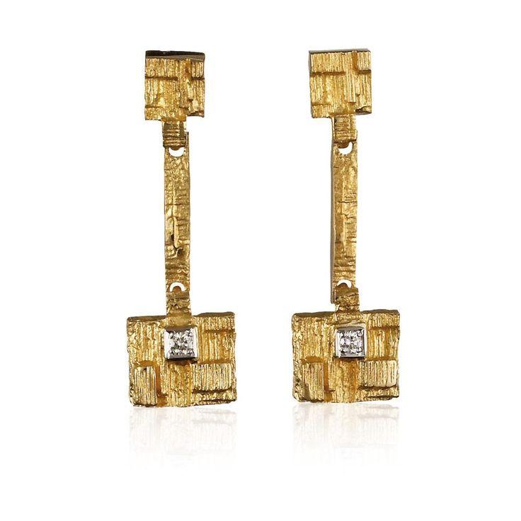 THAI Design Björn Weckström / Gold Earrings / Lapponia Jewelry / Handmade in Helsinki