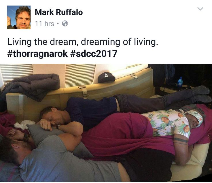 Post by Mark Ruffalo on fb which I believe to be Tom Hiddleston, Taika Waititi, and Chris Hemsworth catching a quick nap. This may be one of the best pics ever taken. <3