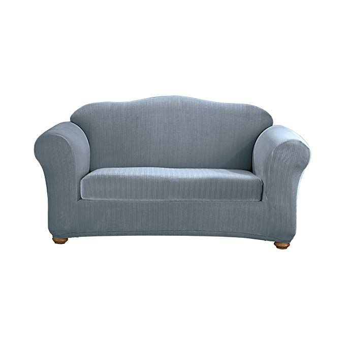 Sensational Sure Fit Stretch Pinstripe 2 Piece Loveseat Slipcover Short Links Chair Design For Home Short Linksinfo