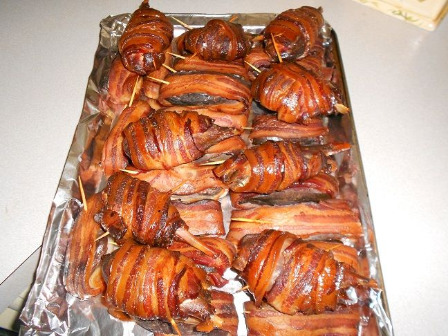 Bacon wrapped smoked duck