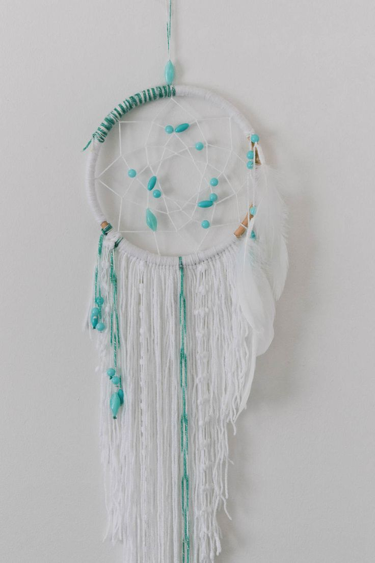 White Boho Dreamcatcher / Mint & White Dream Catcher, Bedroom Decor, Wall Hanging, Dreamcatcher, Boho, White Decor, Mint, Beaded, Asymmetric by ezdot on Etsy