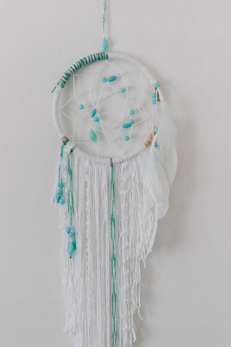 White Boho Dreamcatcher / Mint & White Dream Catcher, Bedroom Decor, Wall Hanging, Dreamcatcher, Boho, White Decor, Mint, Beaded, Asymmetric by ezdot on Etsy