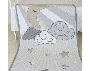 Nube niño edredón, manta del bebé Luna Pastel, gris, Blanco Beige reliquia regalo, bebé ropa de cama, cuna ropa de cama