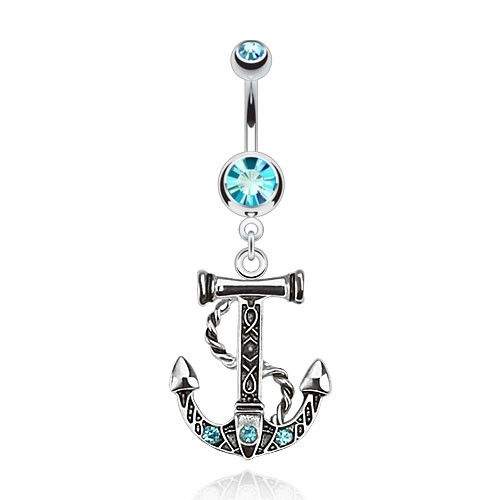 """Surgical Stainless Steel Dangle Navel Ring with Gemmed Anchor (14g) 3/8"""""""