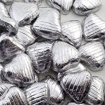 Silver Foil Wrapped Milk Chocolate Hearts Wedding Party Table Favours - 100 Pk