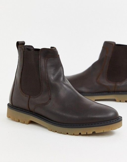 a2ee7b2a1bf Pull&Bear leather chelsea boot with chunky sole in brown in 2019 ...