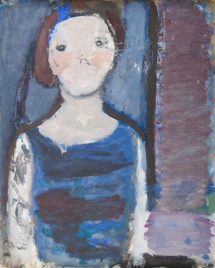 ARTUR NACHT-SAMBORSKI (1898 - 1974) POPIERSIE KOBIETY W NIEBIESKIEJ SUKNI, OK. 1962 R. olej, papier na płótnie, / 61,5 x 50 cm