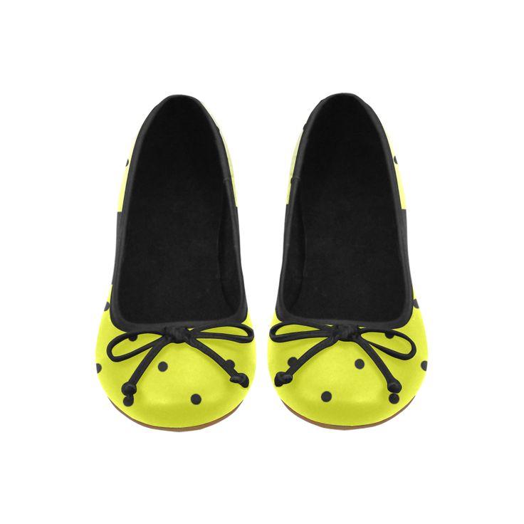 Yellow Polka Dot Fade Juno Ballet Pumps (Model 312)