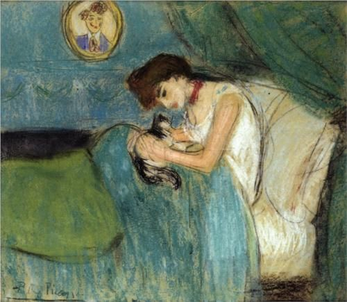 Woman with Cat - Pablo Picasso- 1900 (pre-blue period) Pastel on paper