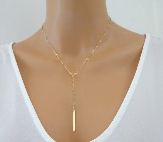 Zierliche gold füllen Lasso Y Halskette Tropfen von LAminiJewelry