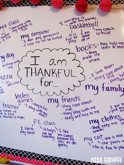 Thanksgiving brainstorming of what we're thankful for - GREAT idea to have them add details of WHY they're thankful for it while you brainstorm... makes writing so much easier for them later!