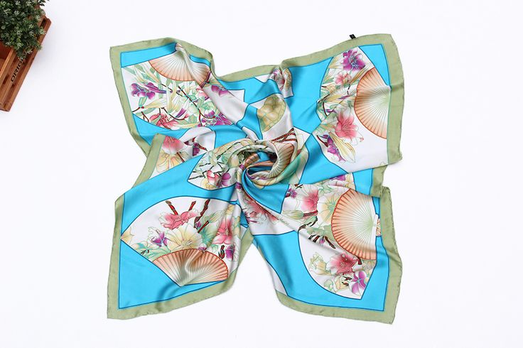 """Extra Large Square Silk Scarf 43x43""""(110x110cm) Turquoise Theme Lotus and Fans…"""
