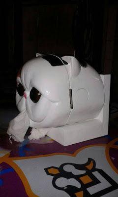 kerajinan kotak tisu bentuk kucing dari kayu