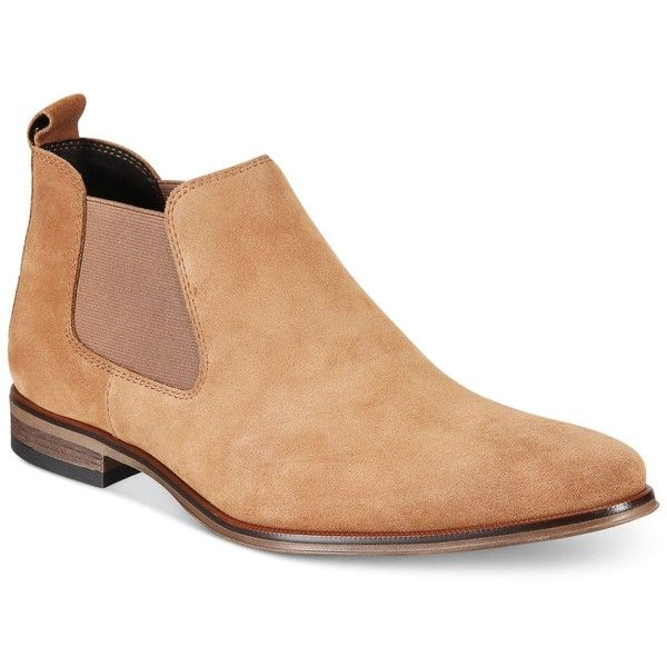 Bar Iii Men's Paxton Chelsea Boots, Created for Macy's ($110) ❤ liked on Polyvore featuring men's fashion, men's shoes, men's boots, light tan suede, mens suede chelsea boots, mens slip on shoes, mens slip on boots, mens tan suede chelsea boots and mens tan suede shoes