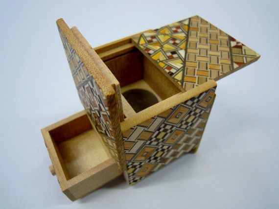 Japanese Puzzle box (Himitsu bako)- 54mm (2.1inch) Kaku Cube Open by 4steps with hidden Drawer box Yosegi