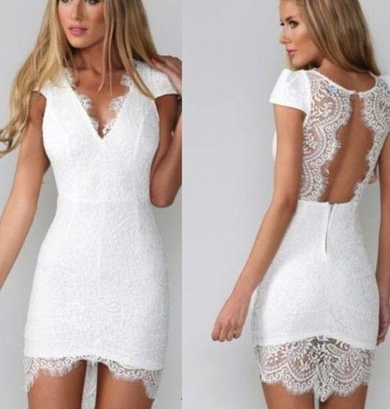 White Plain Lace Spliced Backless Hollow-out V-neck Cap-sleeve Slim Short Sleeve Cocktail Mini Dress