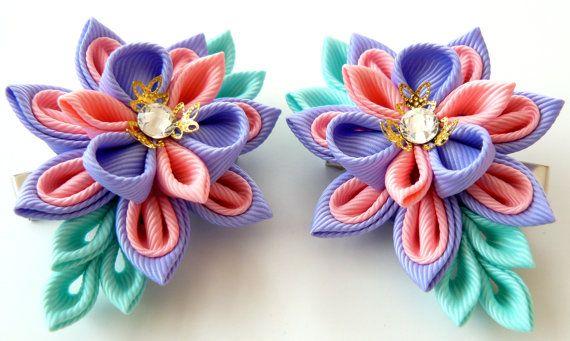 Kanzashi Fabric Flowers. Set of 2 hair clips. Pink iris by JuLVa