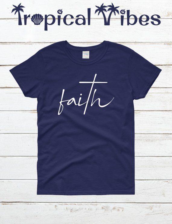Women S Faith Short Sleeve T Shirt Christian T Shirt Faith Cross Shirt Comfort Colors Shirt Spiritual T Shirts With Images Shirts Cross Shirts T Shirt