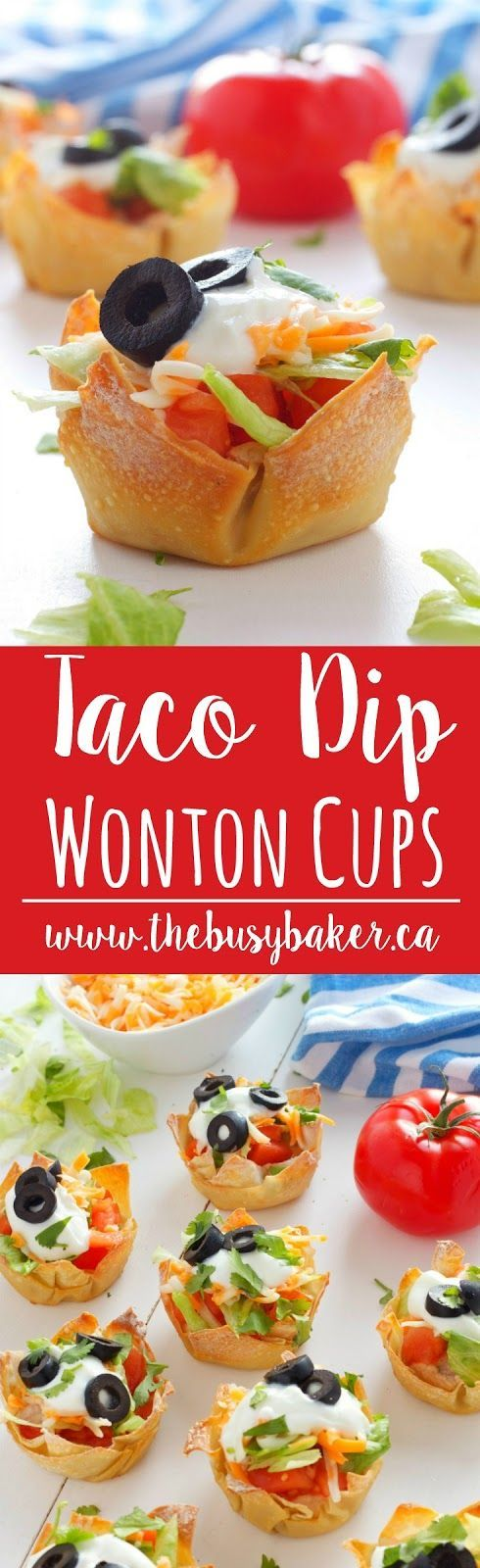 Mexican Taco Dip Wonton Cups #CincoDeMayo www.thebusybaker.ca