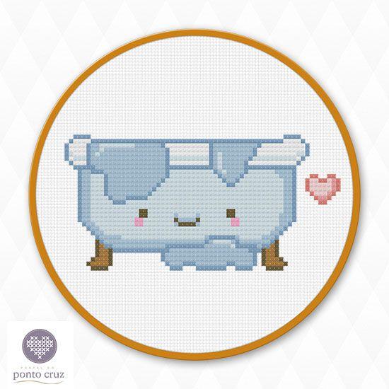 FREE Kawaii Bath Tub Hama Perler Bead Pattern or Cross Stitch Chart