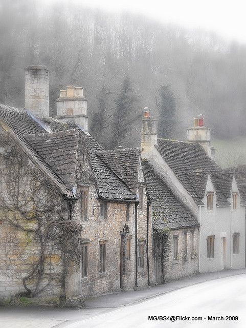 Misty morning in Castle Combe, the Cotswolds, England
