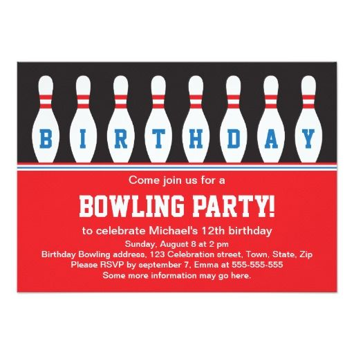 446 best Bowling Birthday Party Invitations images on Pinterest