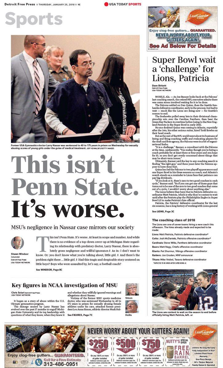 """Detroit Free Press on Twitter: """"Thursday's front page of the Detroit Free Press sports section.… """""""
