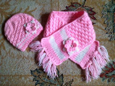 Hainute copii tricotate si crosetate la comanda: Caciulita si fular tricotate