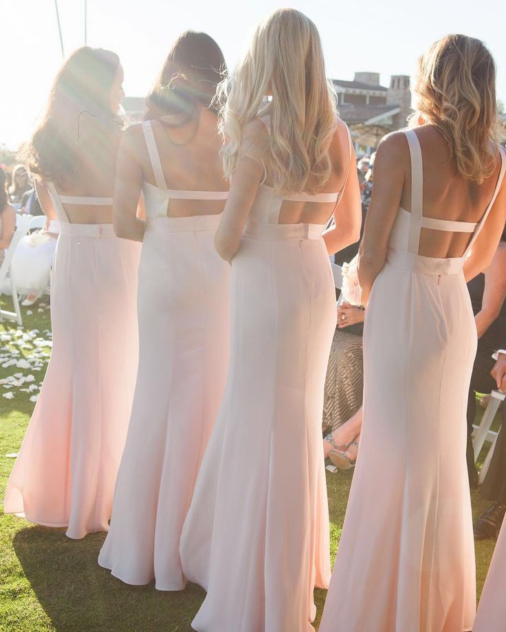 Blush Pink Long V-Neck Crepe Bridesmaid Gown With Open