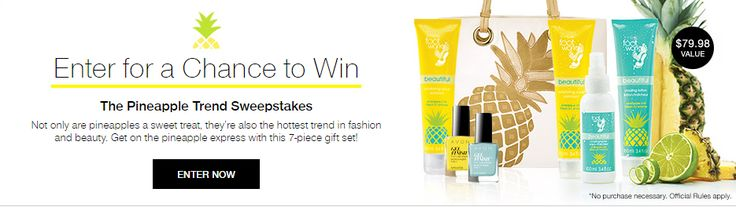 #LoveFreeAvon #FreeFootWorks #2016Sweepstakes FREE GIVEAWAY!!- No Purchase Necessary! 7-Piece Pineapple Express Gift Set. Sweepstakes Ends 8/2/16 at 11:59 pm. For more Information and to Enter Visit Us at https://www.avon.com/pineapple-sweeps