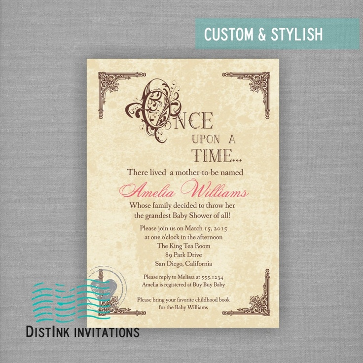 tale once upon a time inspired baby shower or bridal shower invitation