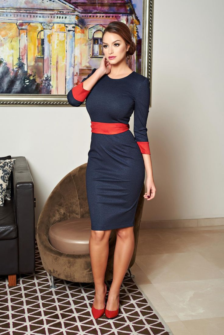 StarShinerS Diva Spirit Guardian DarkBlue Dress, 3/4 sleeves, accessorized with tied waistband, cut with a bodycon fit, denim fabric, velour, back zipper fastening, thick fabric