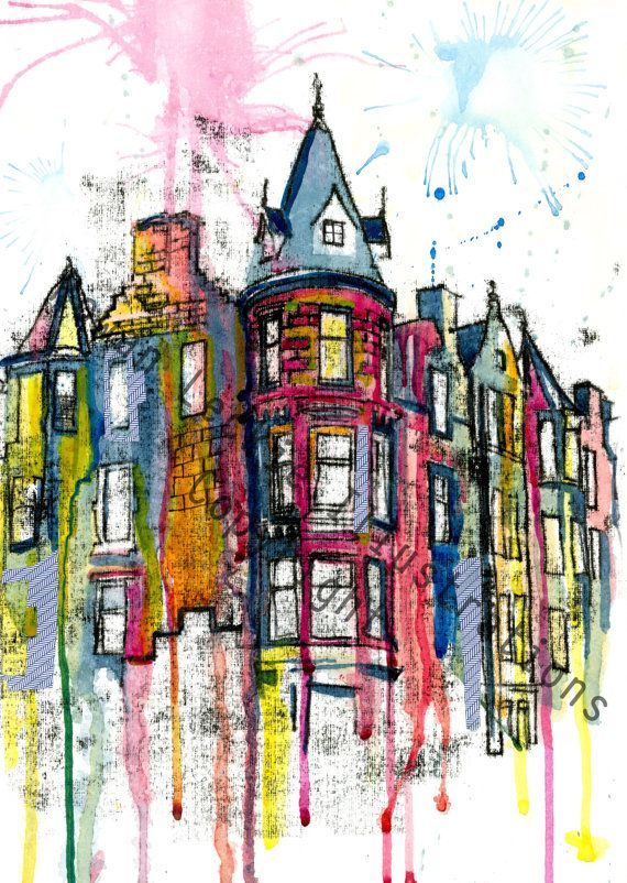 Print Edinburgh City Buildings illustrations by RowanLeckie. www.rowanleckie.com