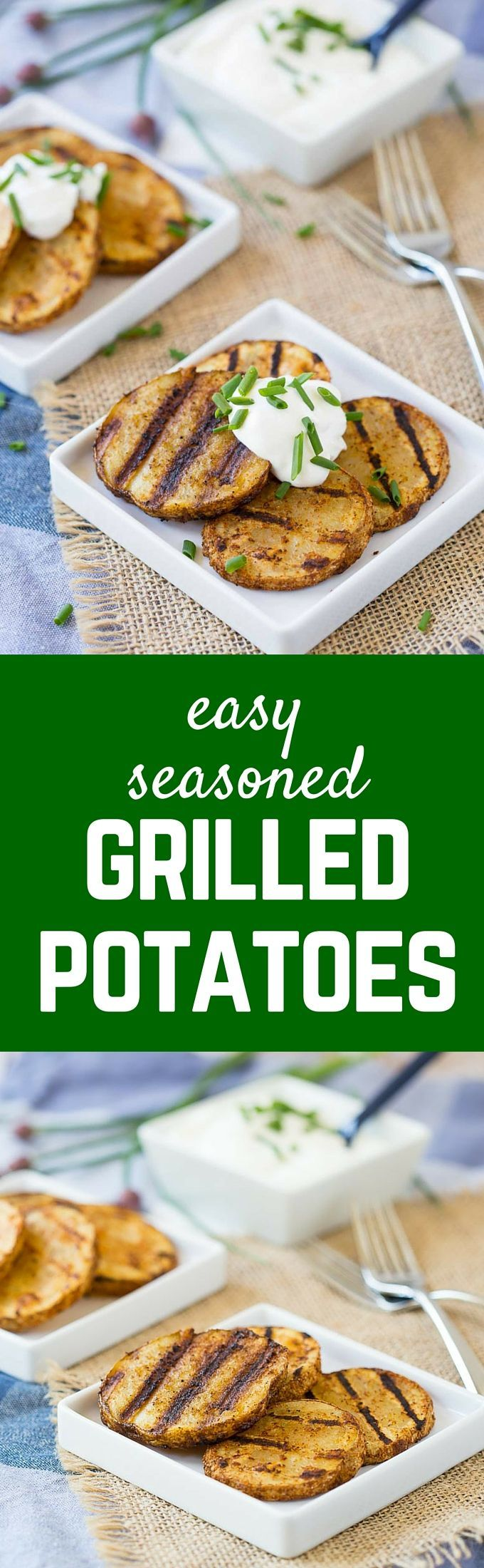 Complete your barbecued meal with these easy and flavorful seasoned grilled potatoes. They have the perfect amount of spice and can cook on your grill with your other food. Get the recipe on http://RachelCooks.com!