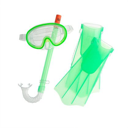 A just-for-kids snorkel set from Speedo (a company that's practically written the book on water gear). It comes with an anti-fog mask, a leakproof snorkel and adjustable fins—not to mention a handy lightweight pack with a strap so kids can carry it themselves. <ul><li>Polycarbonate lens mask.</li><li>Import.</li></ul>