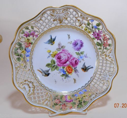 """Meissen Porcelain Reticulated 10"""" Plate Floral Birds Design late 1800's #3"""