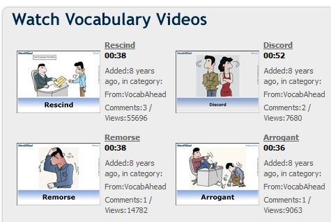 """This is an image from this resource on the Internet4Classrooms' """"Eighth Grade Language Skill Builders - Vocabulary Builders"""" resource page:    Vocab Ahead.     Vocabulary videos, quizzes and flash cards. You can create your own lists and incorporate them into a quiz and/or flash cards."""