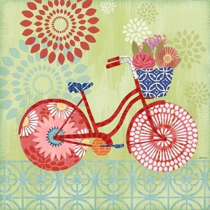 Sunday Bicycle Green by Jennifer Brinley   Ruth Levison Design