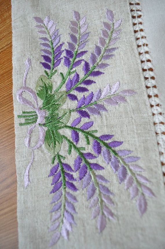 Lavender Embroidery Handmade Hemstitch by TableclothShop