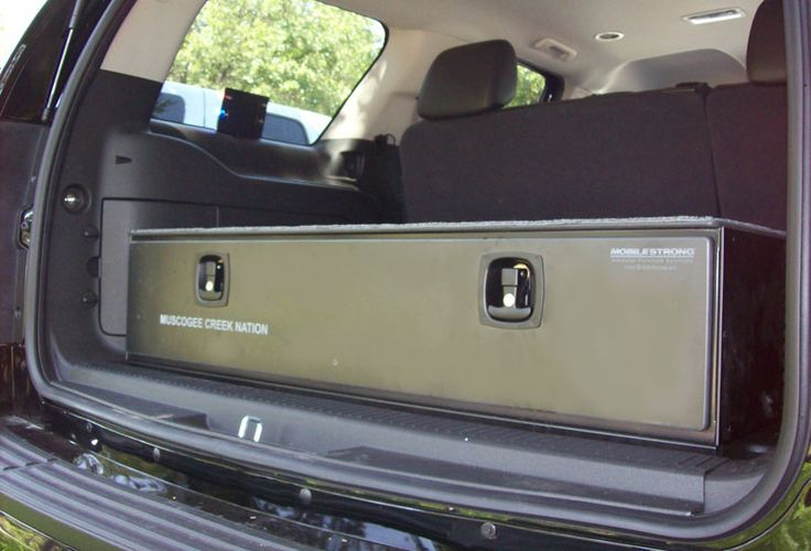 MobileStrong storage drawer installed by Vance Upfitters in a 2013 Chevy Tahoe for the Muscogee Creek Tribal Nation Police Dept.
