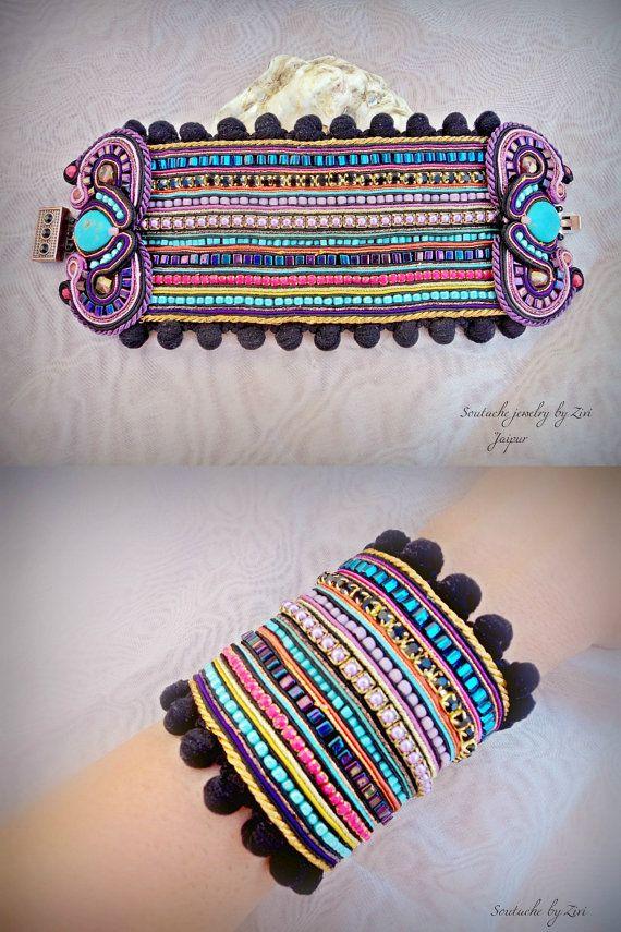 Black Statement Soutache Cuff Bracelet, Colorful Cuff, Bead Embroidery Cuff, Oriental Cuff, Purple Wide Cuff, Turquoise Chunky Cuff ,