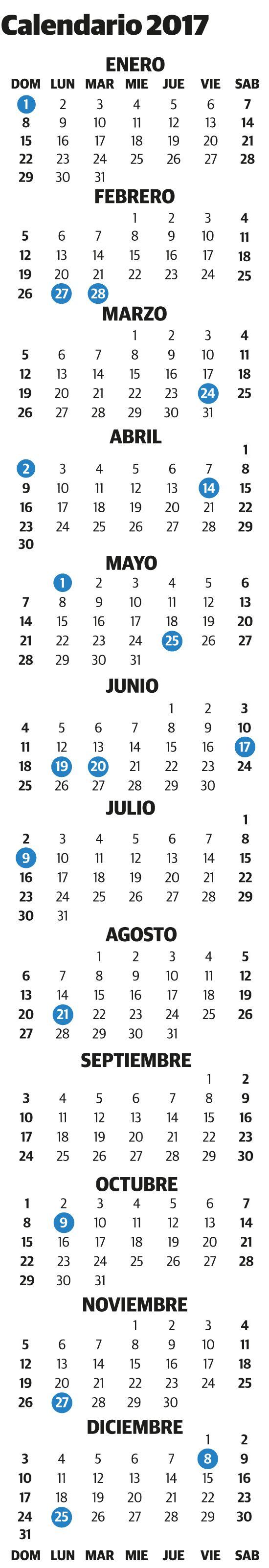 Calendario de feriados 2017   La Voz del Interior