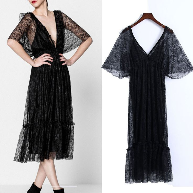 Lace Large V neck Hollow Out Midi Black Slim Beach Vestido Boho Sexy Dress Mesh Jurk Lady Elegant Party Fashion Dress TT2506