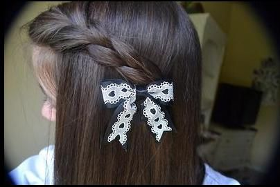 side braid with a cute little bow