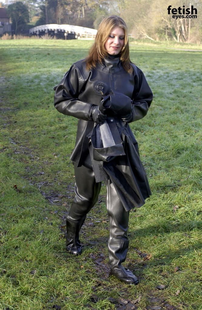 Waders and rubber raincoat