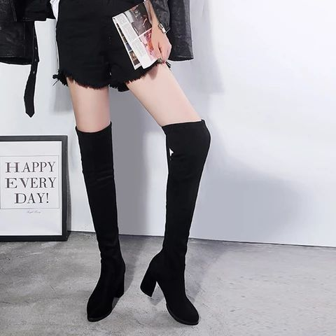 Details about  /Women Flats Thigh High Over Knee Boots Ankle Strap Buckle Flat Pointed Toe Shoes